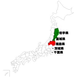 東日本大震災地図