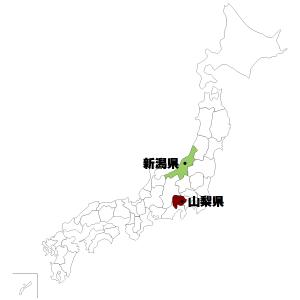 新潟県・山梨県の地図