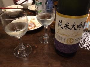 大関 純米大吟醸 グラスに注いだところ